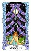 Nine of Swords Tarot card in Tarot of a Moon Garden deck