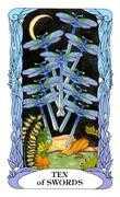Ten of Swords Tarot card in Tarot of a Moon Garden deck