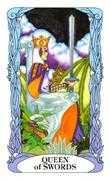 Queen of Swords Tarot card in Tarot of a Moon Garden deck