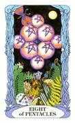 Eight of Coins Tarot card in Tarot of a Moon Garden deck