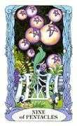Nine of Coins Tarot card in Tarot of a Moon Garden deck