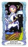 Knight of Coins Tarot card in Tarot of a Moon Garden deck