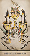 Three of Chalices Tarot card in Tarot Nuages deck