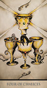 Four of Chalices Tarot card in Tarot Nuages deck