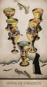 Seven of Chalices Tarot card in Tarot Nuages deck