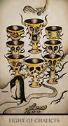 Eight of Chalices Tarot card in Tarot Nuages deck