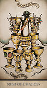 Nine of Chalices Tarot card in Tarot Nuages deck