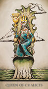 Queen of Chalices Tarot card in Tarot Nuages deck
