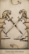 Two of Swords Tarot card in Tarot Nuages deck