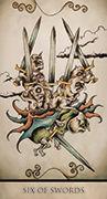 Six of Swords Tarot card in Tarot Nuages deck