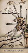 Seven of Swords Tarot card in Tarot Nuages deck
