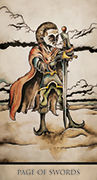 Page of Swords Tarot card in Tarot Nuages deck