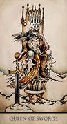 Queen of Swords Tarot card in Tarot Nuages deck