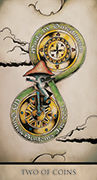 Two of Coins Tarot card in Tarot Nuages deck