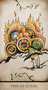 Five of Coins Tarot card in Tarot Nuages deck