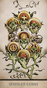 Seven of Coins Tarot card in Tarot Nuages deck