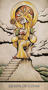 Queen of Coins Tarot card in Tarot Nuages deck