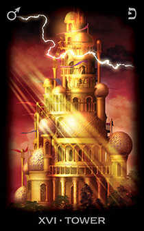 The Falling Tower Tarot Card - Tarot of Dreams Tarot Deck