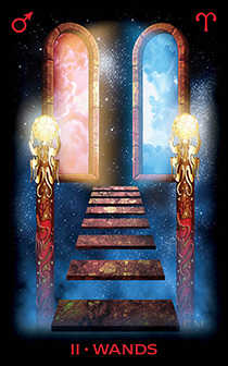 Two of Staves Tarot Card - Tarot of Dreams Tarot Deck