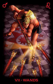 Seven of Rods Tarot Card - Tarot of Dreams Tarot Deck