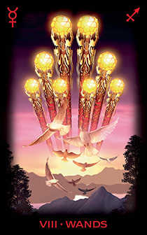 Eight of Staves Tarot Card - Tarot of Dreams Tarot Deck