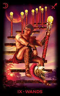 Nine of Batons Tarot Card - Tarot of Dreams Tarot Deck