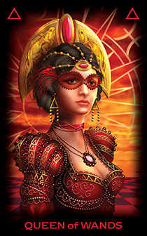Queen of Rods Tarot Card - Tarot of Dreams Tarot Deck