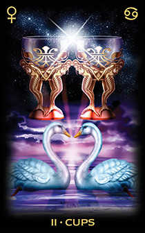 Two of Bowls Tarot Card - Tarot of Dreams Tarot Deck