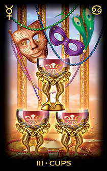 Three of Bowls Tarot Card - Tarot of Dreams Tarot Deck