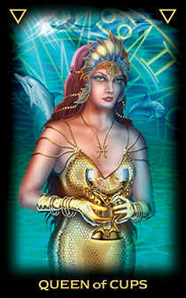Queen of Bowls Tarot Card - Tarot of Dreams Tarot Deck