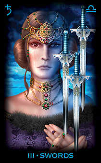 Three of Swords Tarot Card - Tarot of Dreams Tarot Deck