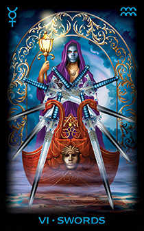 Six of Arrows Tarot Card - Tarot of Dreams Tarot Deck