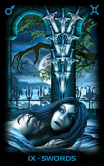 Nine of Arrows Tarot Card - Tarot of Dreams Tarot Deck