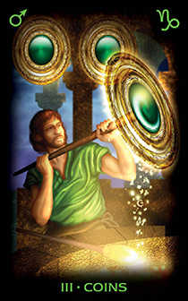 Three of Discs Tarot Card - Tarot of Dreams Tarot Deck