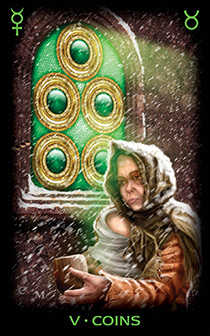 Five of Coins Tarot Card - Tarot of Dreams Tarot Deck