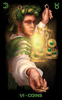 Six of Pentacles Tarot Card - Tarot of Dreams Tarot Deck