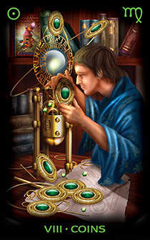 Eight of Coins Tarot Card - Tarot of Dreams Tarot Deck