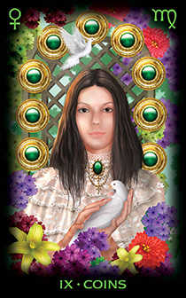 Nine of Coins Tarot Card - Tarot of Dreams Tarot Deck