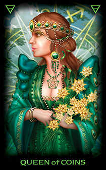 Queen of Coins Tarot Card - Tarot of Dreams Tarot Deck