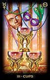Three of Cups Tarot card in Tarot of Dreams Tarot deck