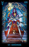 Six of Swords Tarot card in Tarot of Dreams Tarot deck