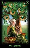 Seven of Coins Tarot card in Tarot of Dreams deck