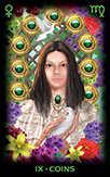 Nine of Coins Tarot card in Tarot of Dreams Tarot deck
