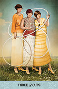 Three of Cups Tarot card in Tarot of Mystical Moments deck