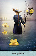 Five of Cups Tarot card in Tarot of Mystical Moments deck