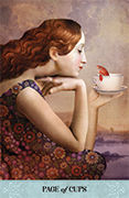 Page of Cups Tarot card in Tarot of Mystical Moments deck