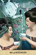 Six of Pentacles Tarot card in Tarot of Mystical Moments deck