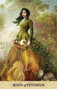 Queen of Pentacles Tarot card in Tarot of Mystical Moments deck