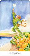 The Fool Tarot card in Tarot of the Golden Wheel deck