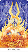 The Devil Tarot card in Tarot of the Golden Wheel deck